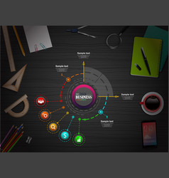 business infographics presentation slide with 5 st vector image