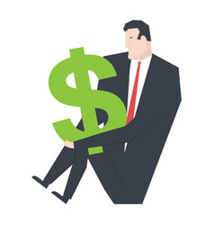 businessman and dollar boss is hugging money vector image