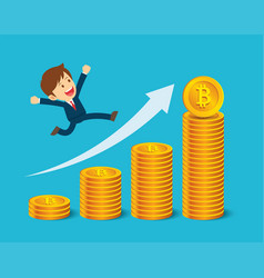 businessman are happy at the bitcoin prices up vector image