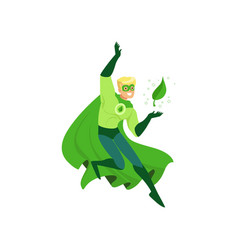 Cartoon character of eco superhero with powers in vector