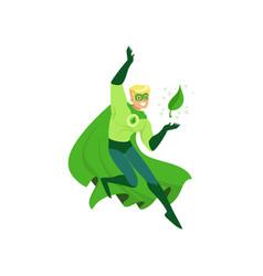 Cartoon character of eco superhero with powers vector