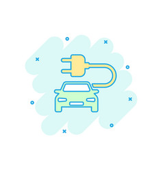 Cartoon electro car icon in comic style electric vector