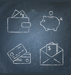 chalkboard money and payments icon set in line vector image