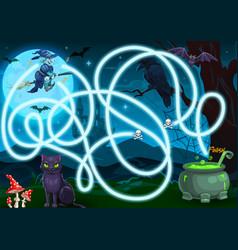 Children search way halloween maze or game vector