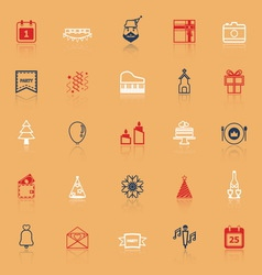 Christmas and new year line icons with reflect vector