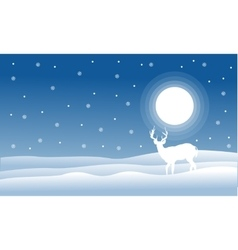 Christmas landscape deer with full snow vector