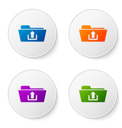 color folder upload icon isolated on white vector image