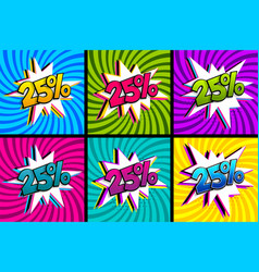Comic text 25 percent sale set discount vector