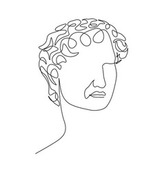 Continuous one line face statue david vector