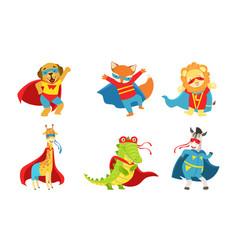 cute animals dressed as superheroes vector image