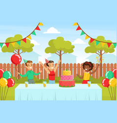 cute boy celebrating birthday with his friends vector image