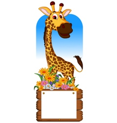 Cute giraffe cartoon with blank board vector image