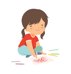 cute girl sitting on floor and drawing picture vector image
