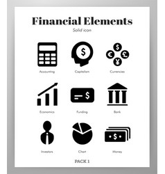 Financial elements solid pack vector