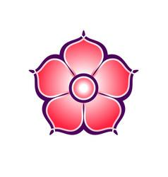 flat colorful icon of sakura flower vector image