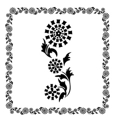 flower frame black ornament vector image