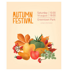 Flyer or poster template for autumn festival with vector