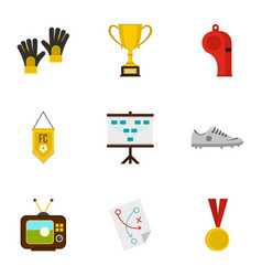 football equipment icons set flat style vector image