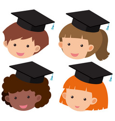 Four kids wearing graduation hat vector