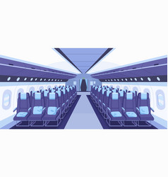 front view modern plane interior with aisle vector image
