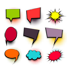 Funny set colored comic speech square bubbles vector