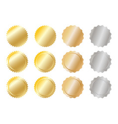 gold and silver metal badges over white vector image