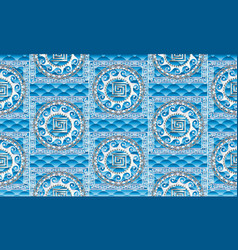 Greek sea motif seamless pattern rippled vector