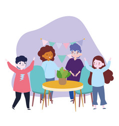 Group people together in home to celebrate a vector