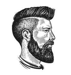 hand drawn portrait man in profile hipster vector image