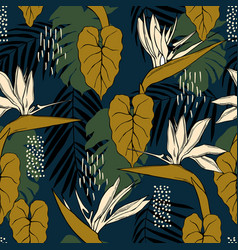 Hand drawn tropical flowers seamless pattern vector
