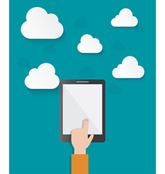 Hand pointing on tablet screen vector