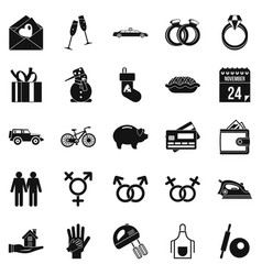Have dinner icons set simple style vector