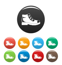 hiking boots icons set collection circle vector image