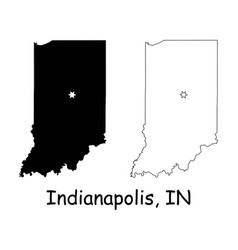 indianapolis indiana in state border usa map vector image