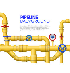 Industrial gas pipe banner yellow pipeline oil vector