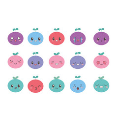 kawaii fruits with adorable facial expression vector image