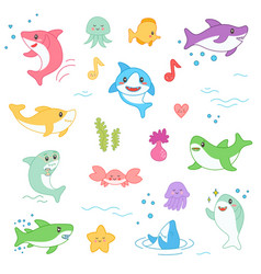 Kawaii marine creatures collection funny cute fish vector