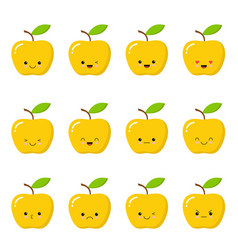 kawaii yellow apple cute emoticon face on a white vector image