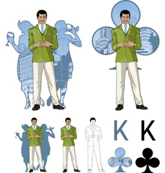 King of clubs asian male party host with female vector image