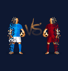 Light blue and dark red soccer players holding vector