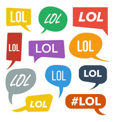 Lol speech bubbles fun symbol emotion vector