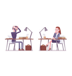 male and female teacher working in despair at the vector image