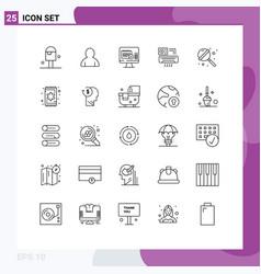 Mobile interface line set 25 pictograms vector