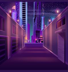 Night city empty side street cartoon vector