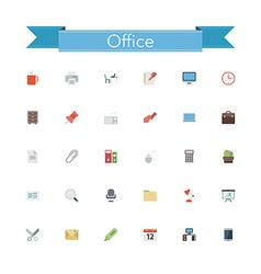 Office Flat Icons vector image