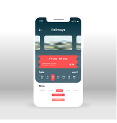online railways ticket ui ux gui screen for vector image