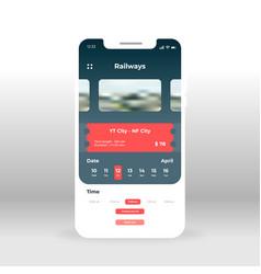 Online railways ticket ui ux gui screen for vector