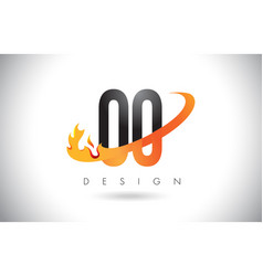 oo o letter logo with fire flames design and vector image