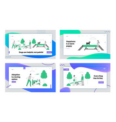 People walking with dogs website landing page set vector