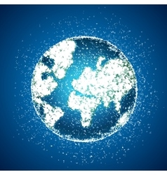 polygonal globe on blue background vector image